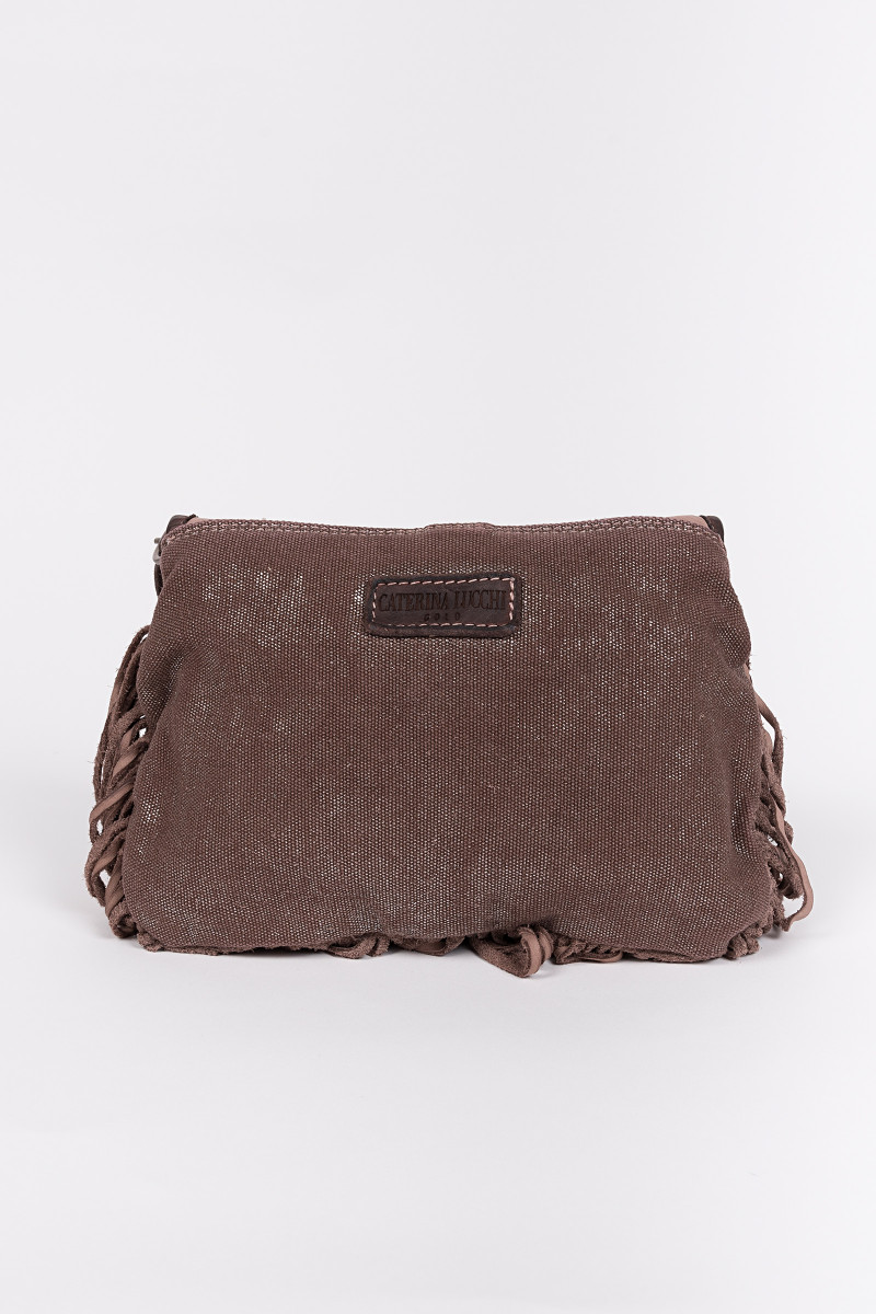 Brown Canvas-Sequins Flap Bag cover
