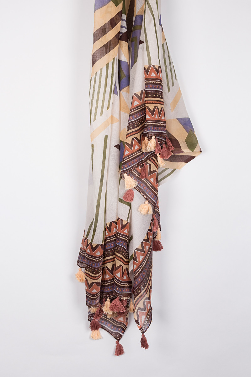 Ethnic White Printed Scarf front