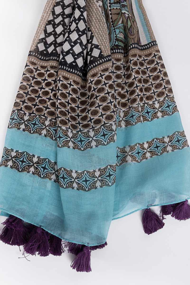 Turquoise Ethnic Printed Scarf front
