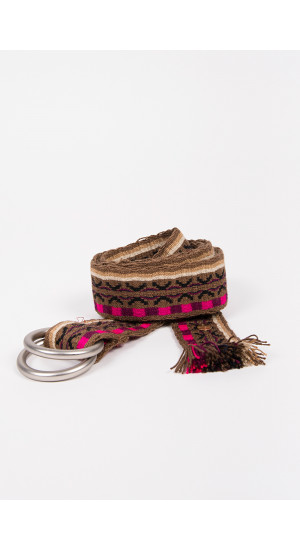 Brown-Fuchsia Ethnic Belt cover
