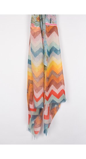 Multicolor Geometric-Flowers Scarf cover