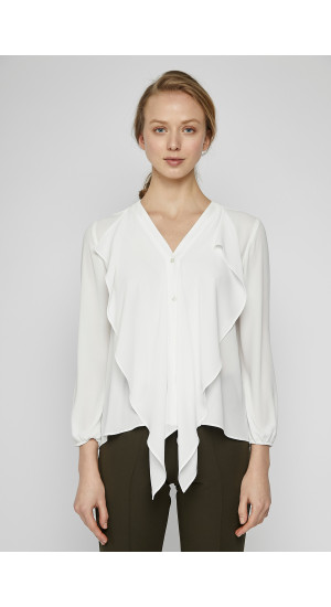 White Ruffle Blouse cover