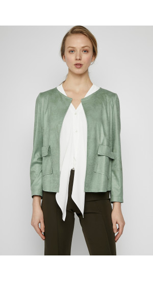 Mint Green Synthetic Suede Jacket cover