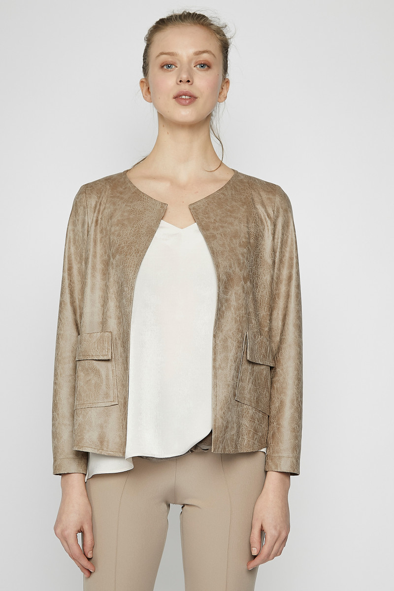 Taupe Synthetic Suede Jacket cover