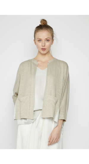 Stone Color Linen Combined Knit Jacket cover