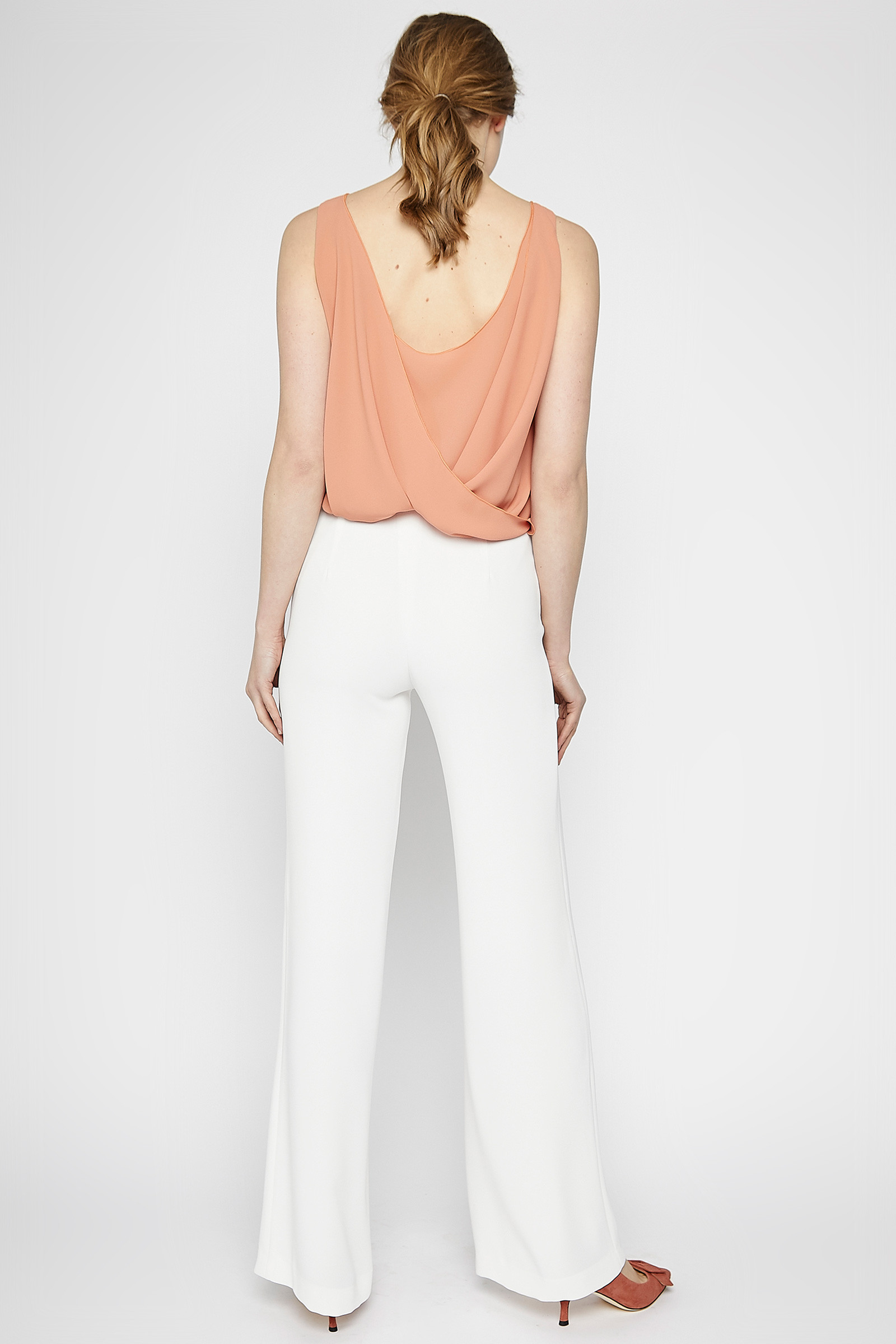 Peach Color Crossed Top back