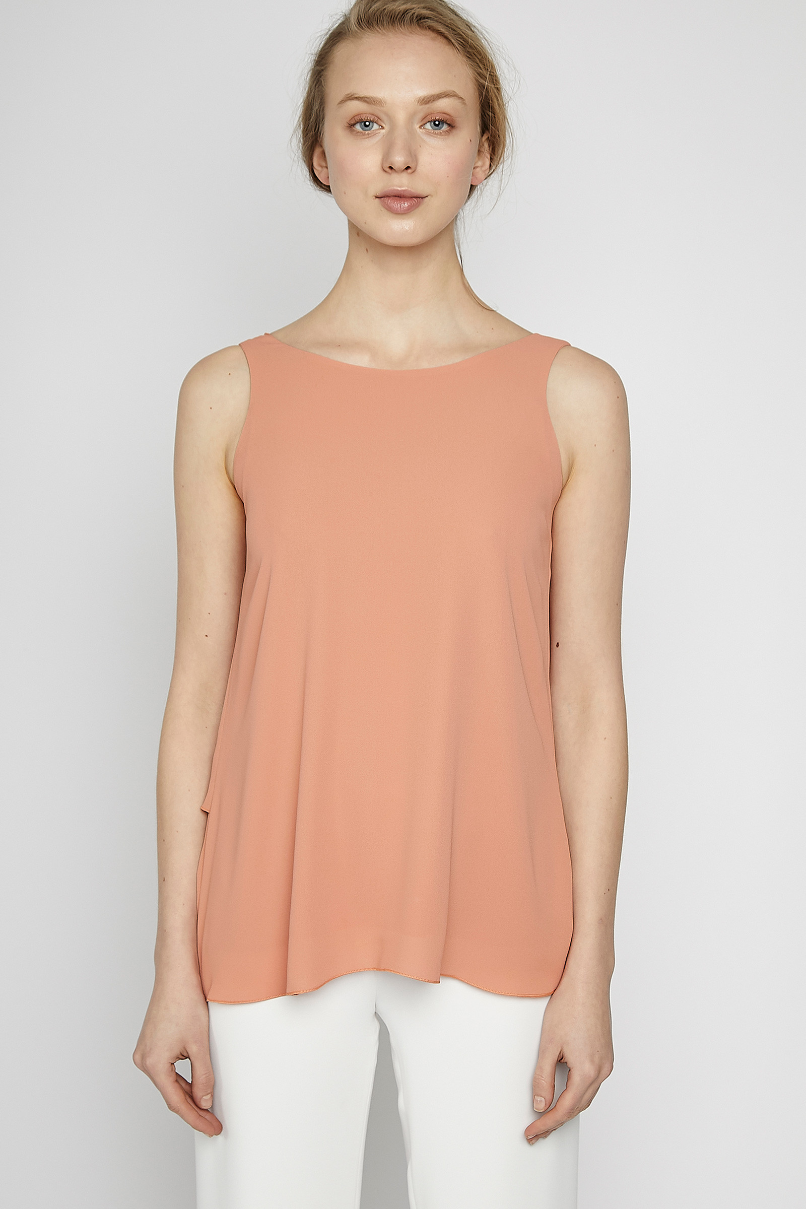 Peach Color Crossed Top front