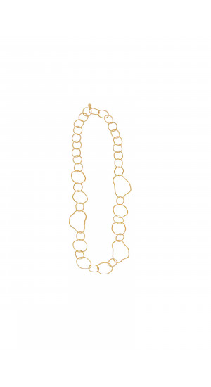 Golden Long Irregular Links Necklace cover