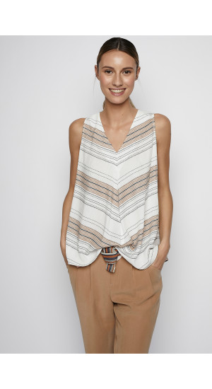 Beige-Black Stripes Top