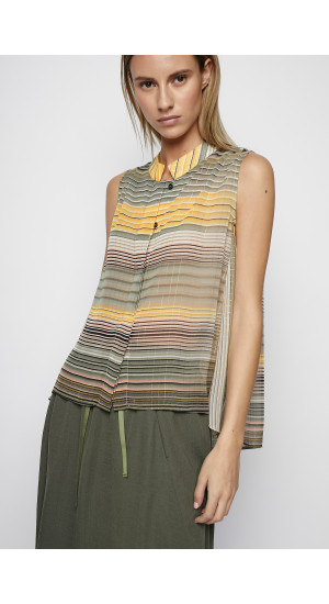 Mustard-Green Color Striped Top cover