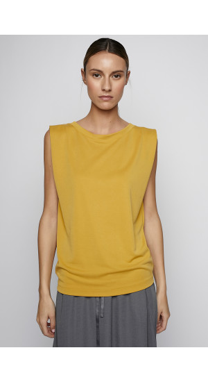 Mustard Color Sleeveless T-Shirt cover