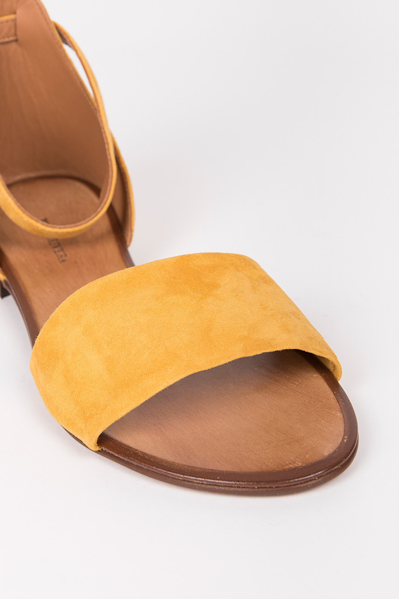 Mustard Color Suede Flat Sandal cover