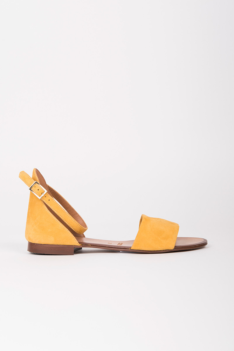 c3b27e67861 Mustard Color Suede Flat Sandal cover ...