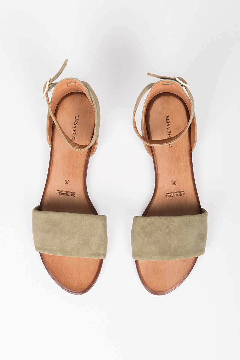 Army Green Suede Flat Sandal cover