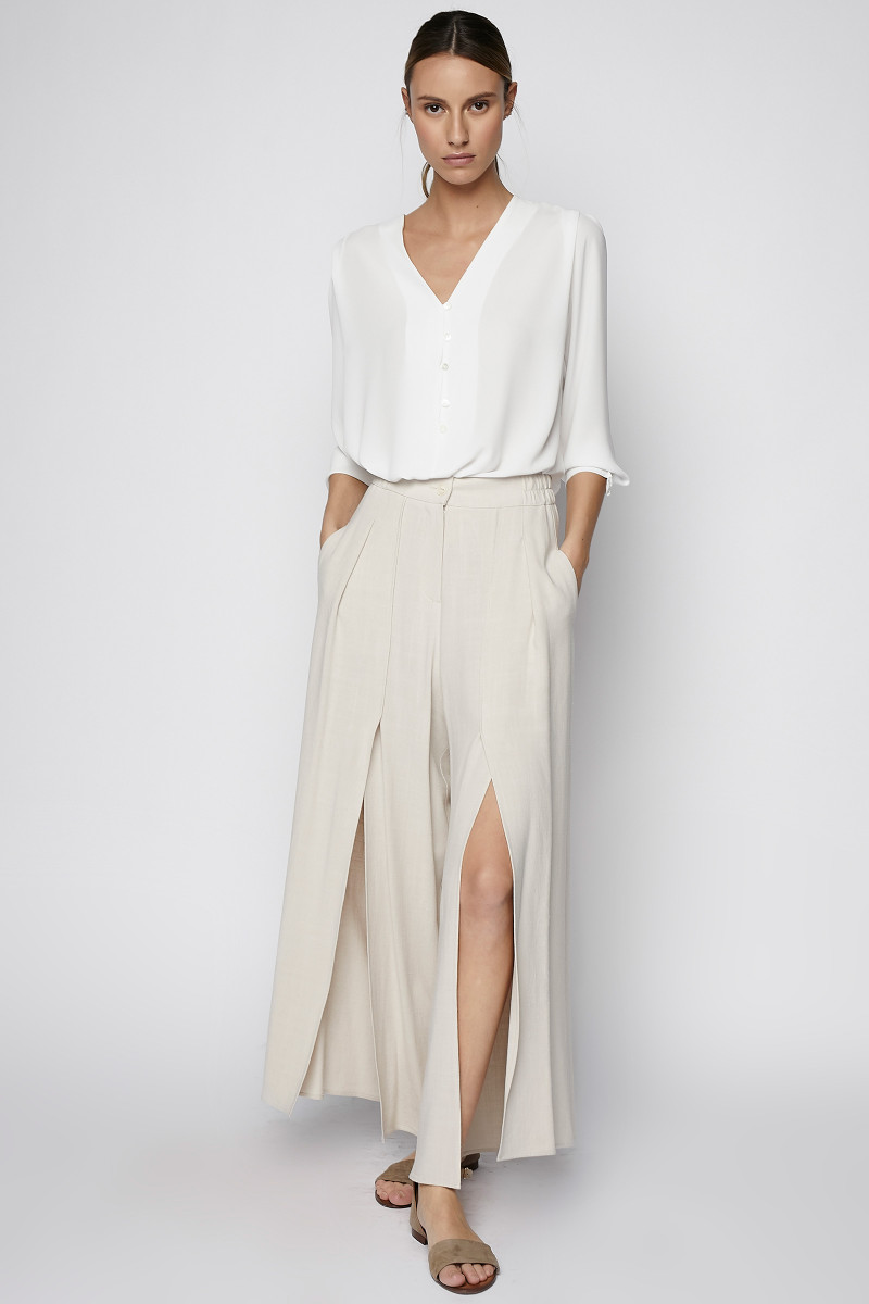 Ivory Linen Openings Pants cover