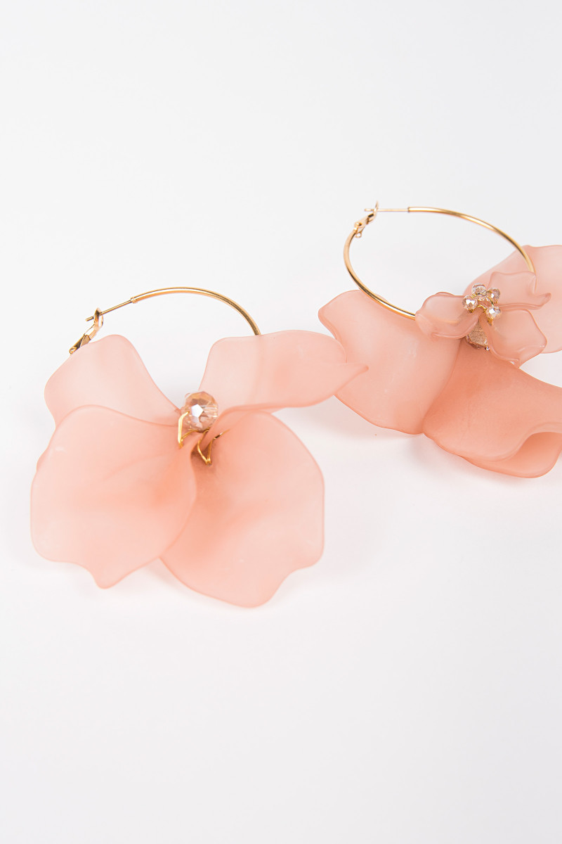 Coral Color Flower Earrings cover