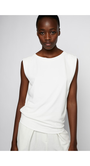 White Sleeveless T-Shirt cover