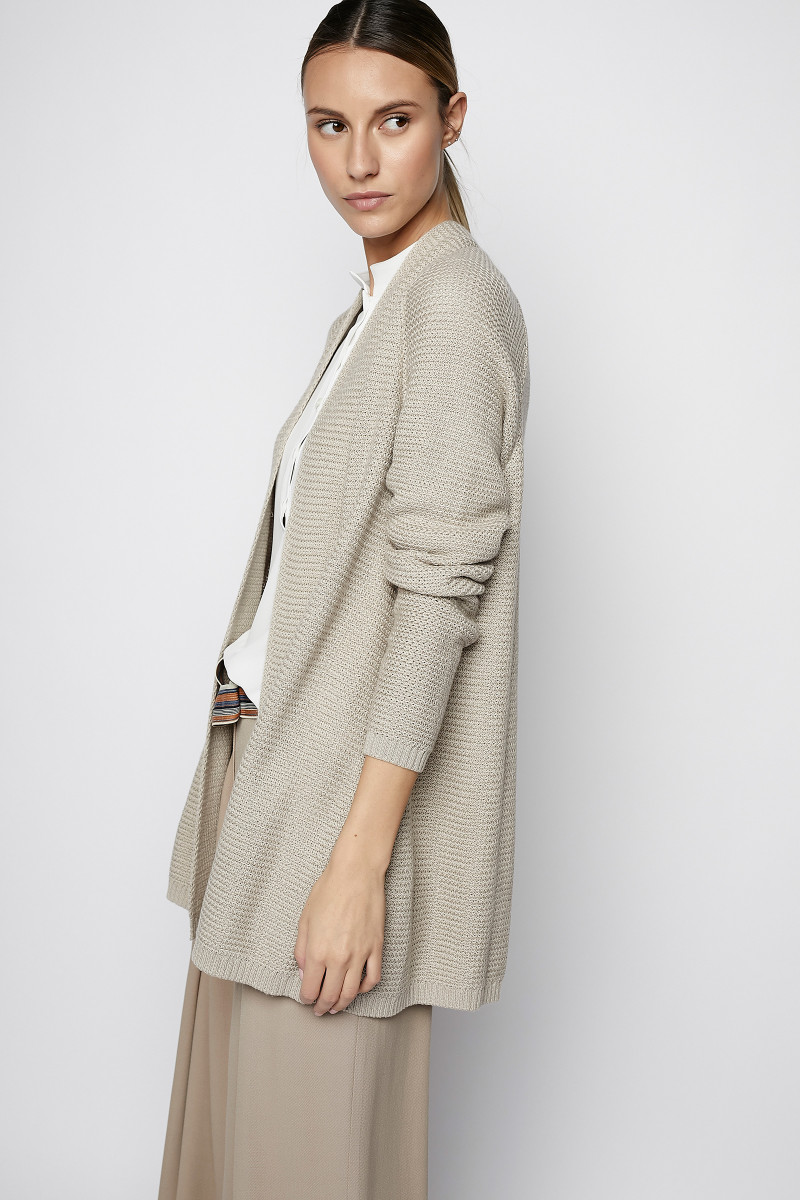Stone Colored Long Knit Jacket cover