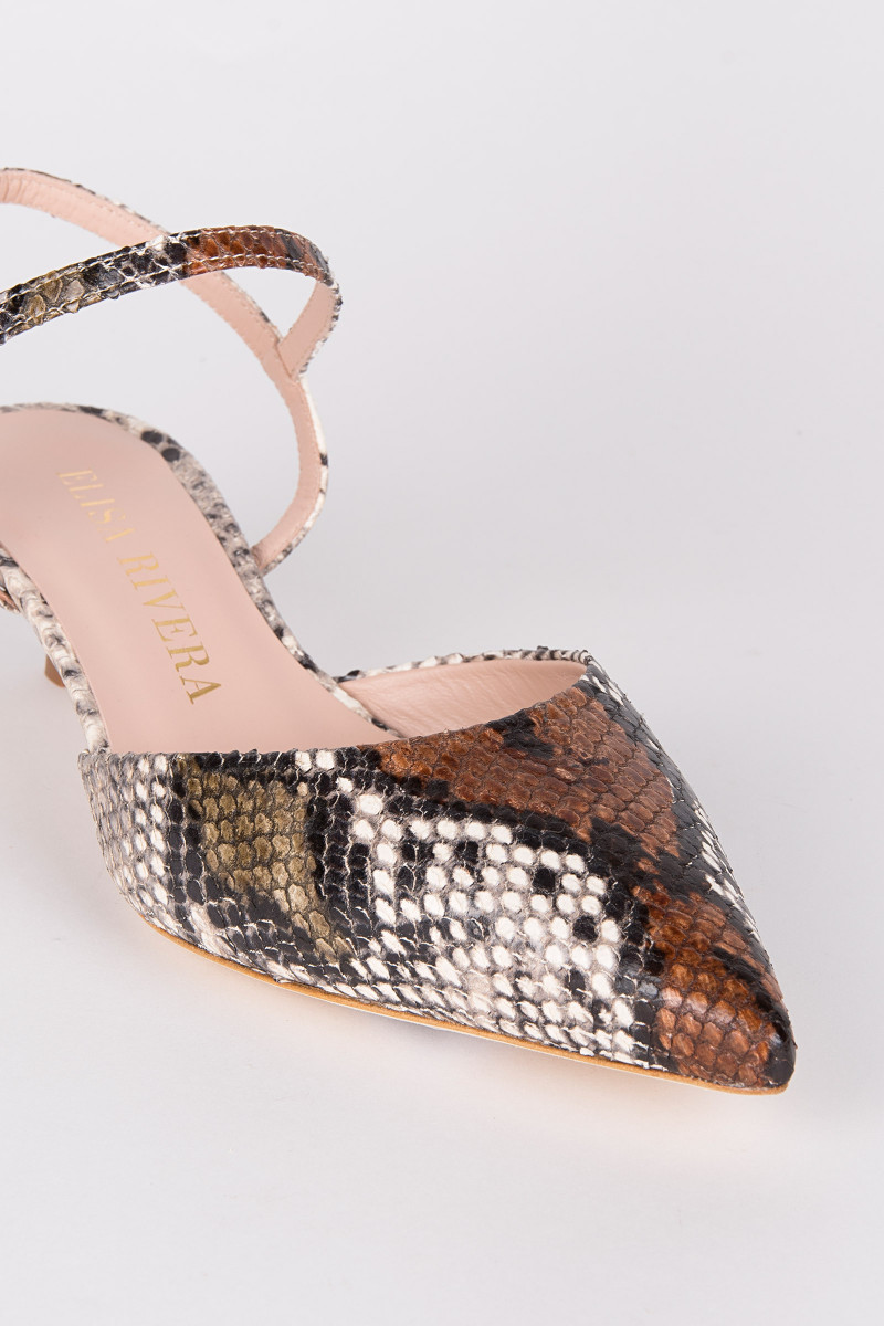Brown Slingback Kitten Heel Shoes cover