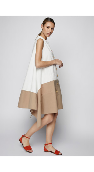 Two-Tone White-Camel Dress side 2