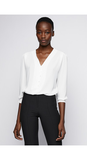 White Blouse V Neck cover