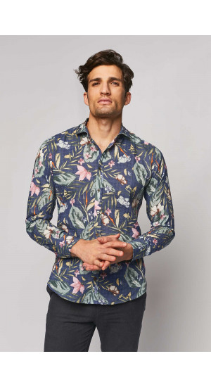 Camisa Estampado Tropical Azul portada