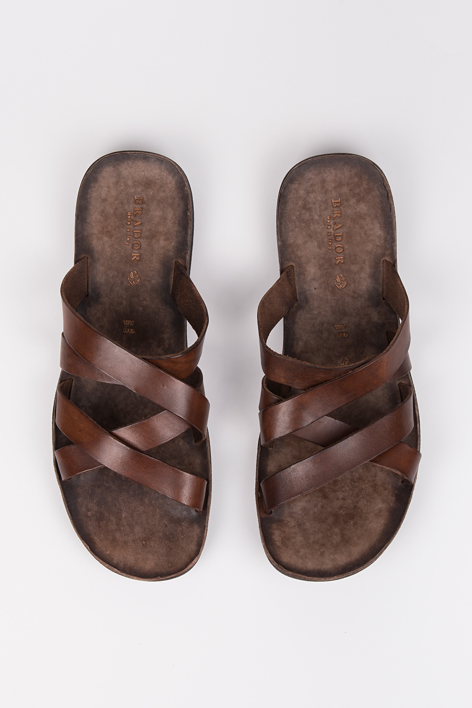 Brown Leather Sandals front