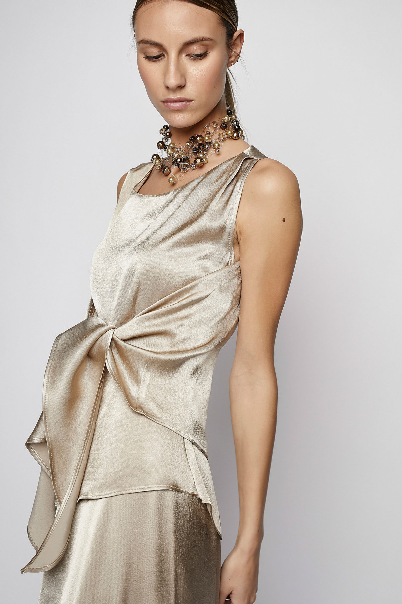 Champagne Colored Satin Top cover