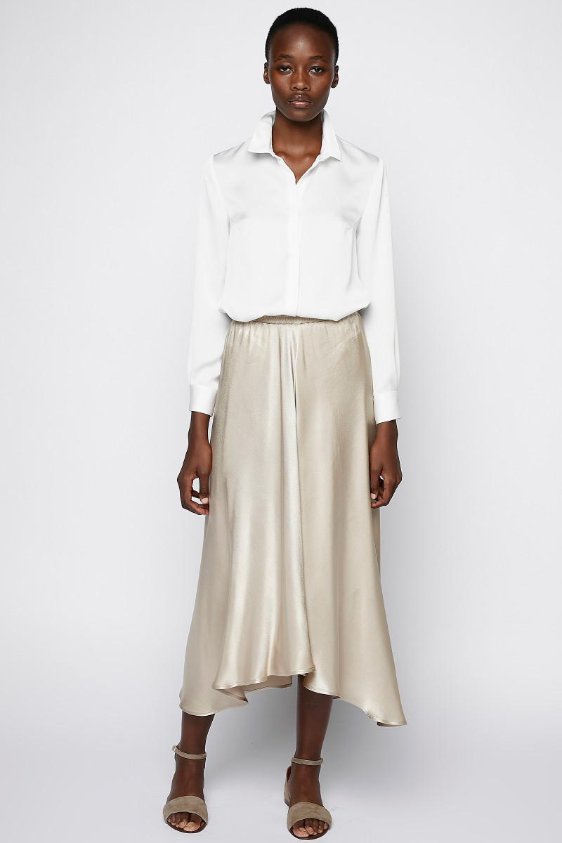 Champagne Colored Satin Skirt cover