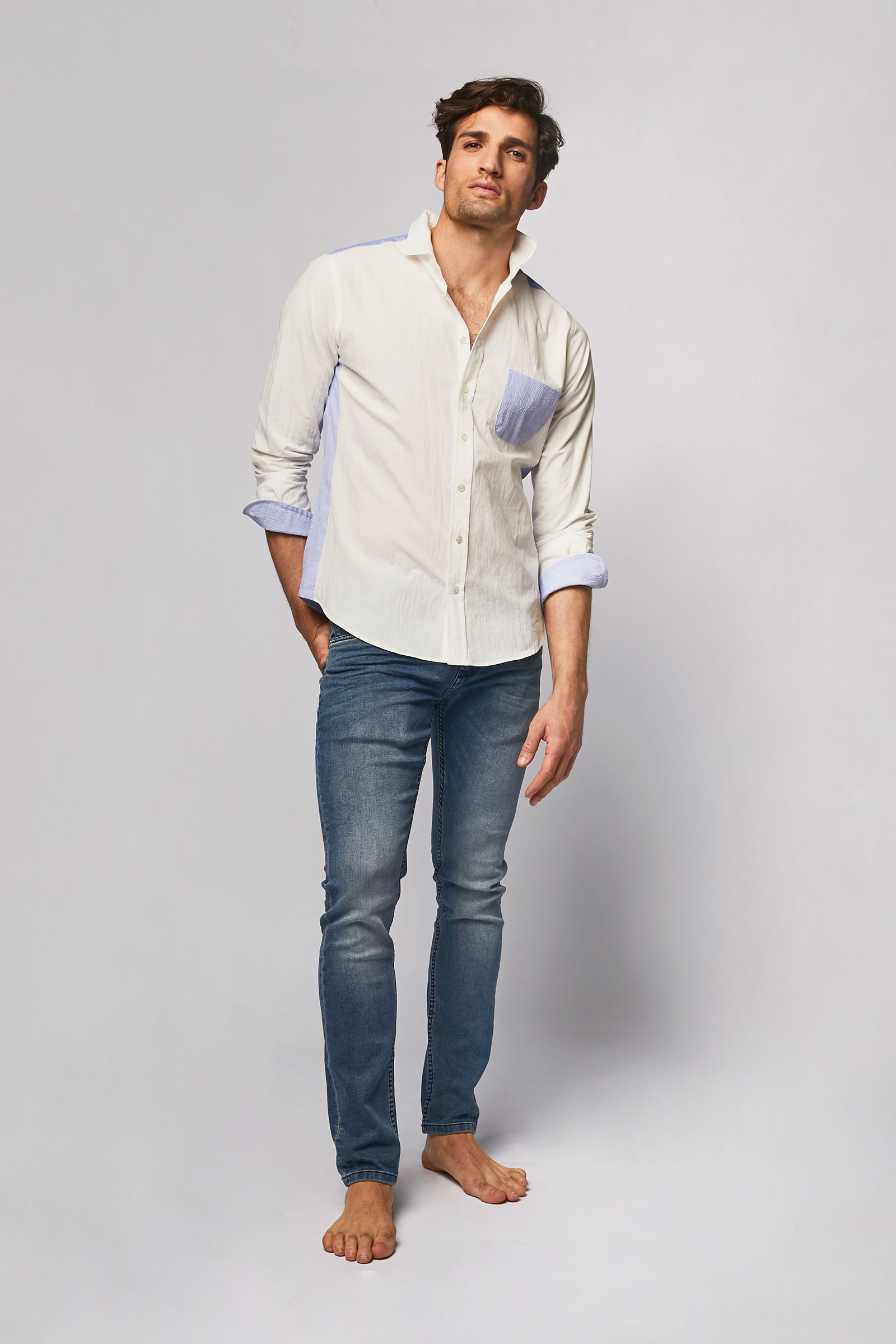 Two-tone shirt front