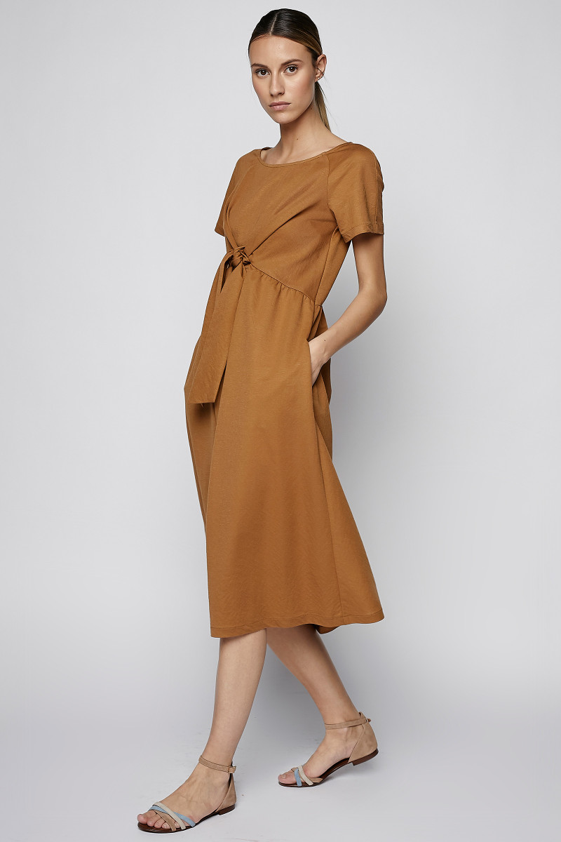 Cognac Color Dress With Front Bow cover