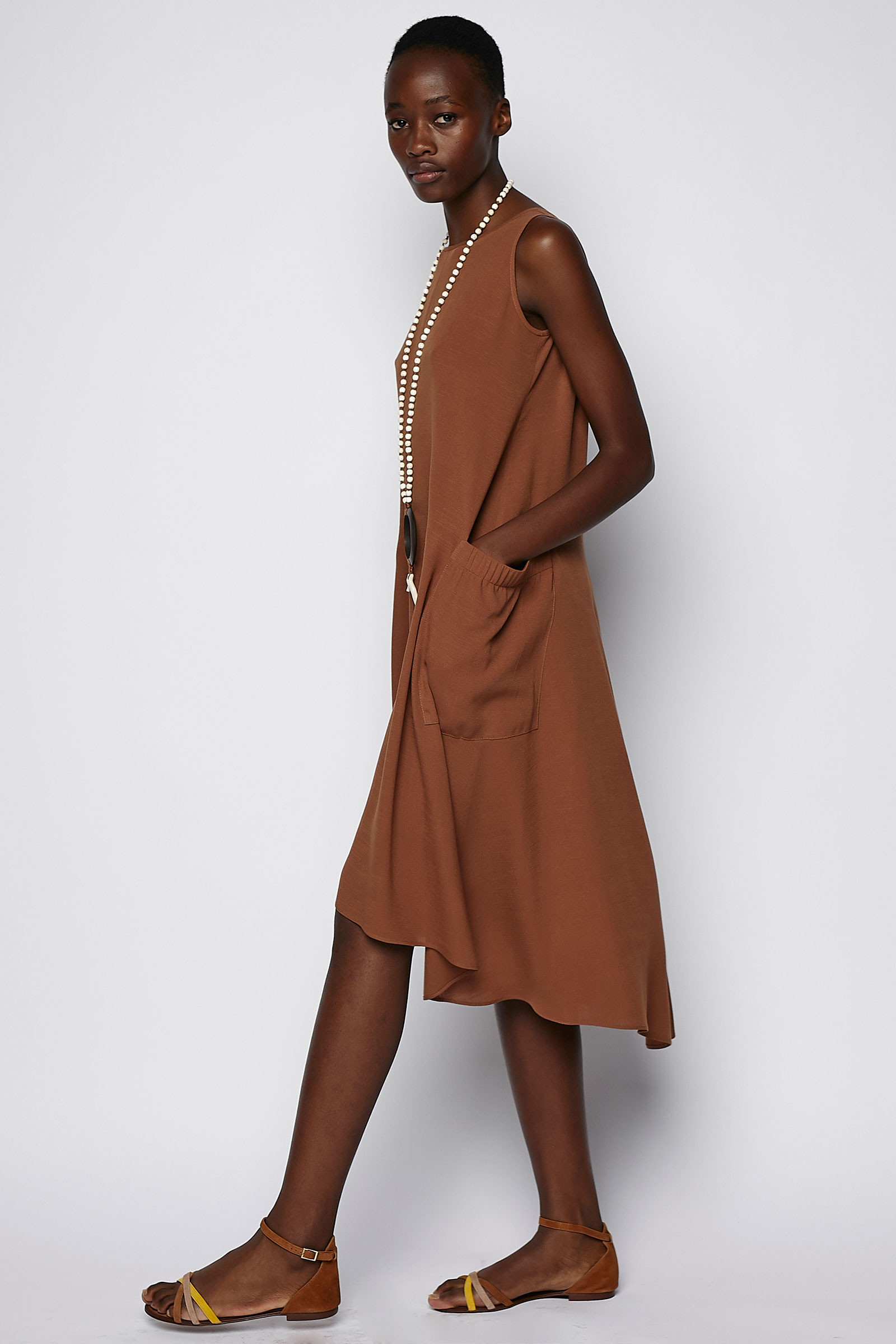 Brown Dress Side Pockets side