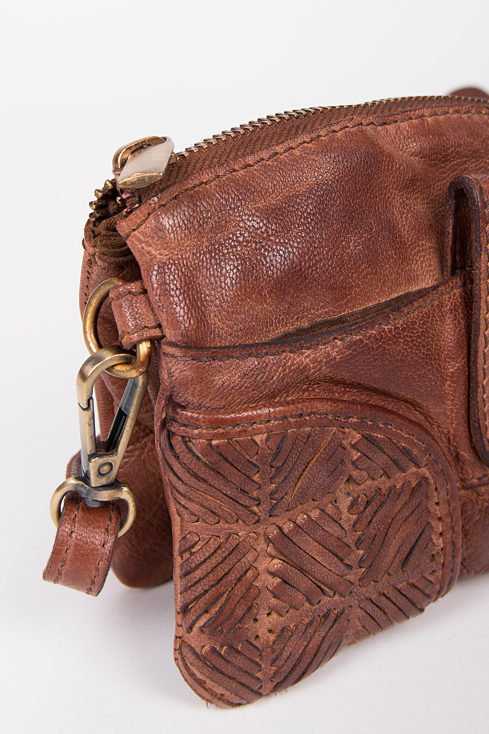 Brown Leather Bag Braided Detail
