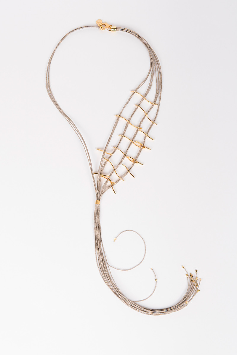 Long Linen and Bronze Necklace Elisa & Eduardo Rivera