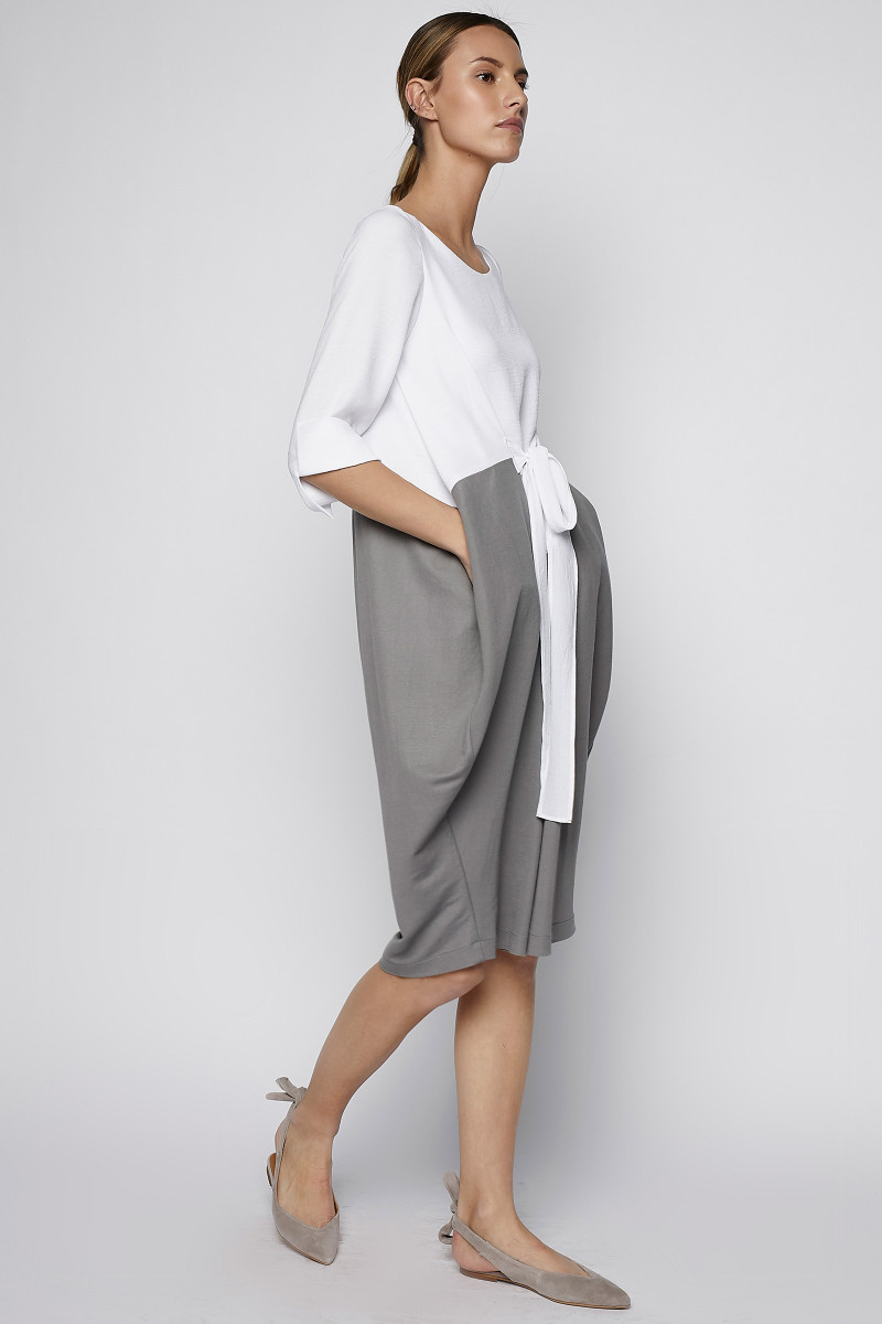 Two Tones White and Grey Dress side