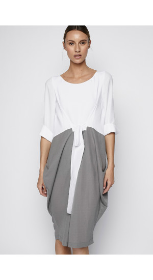 Two Tones White and Grey Dress cover