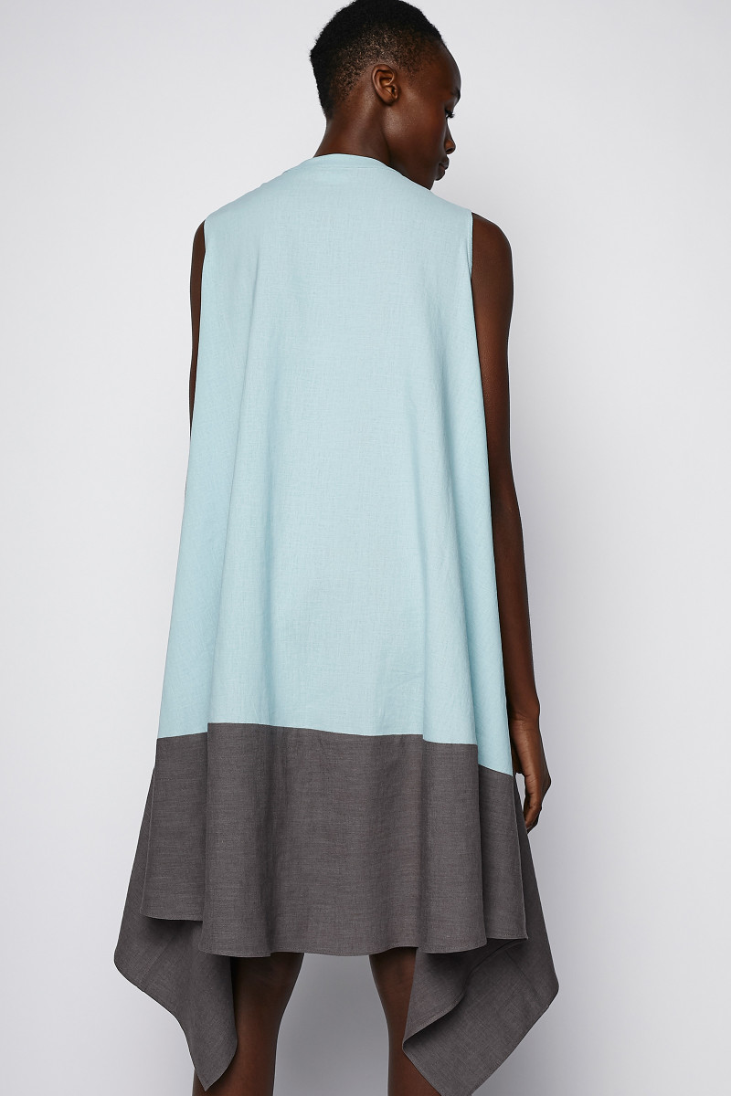 Turquoise-Grey Two Tones Dress cover