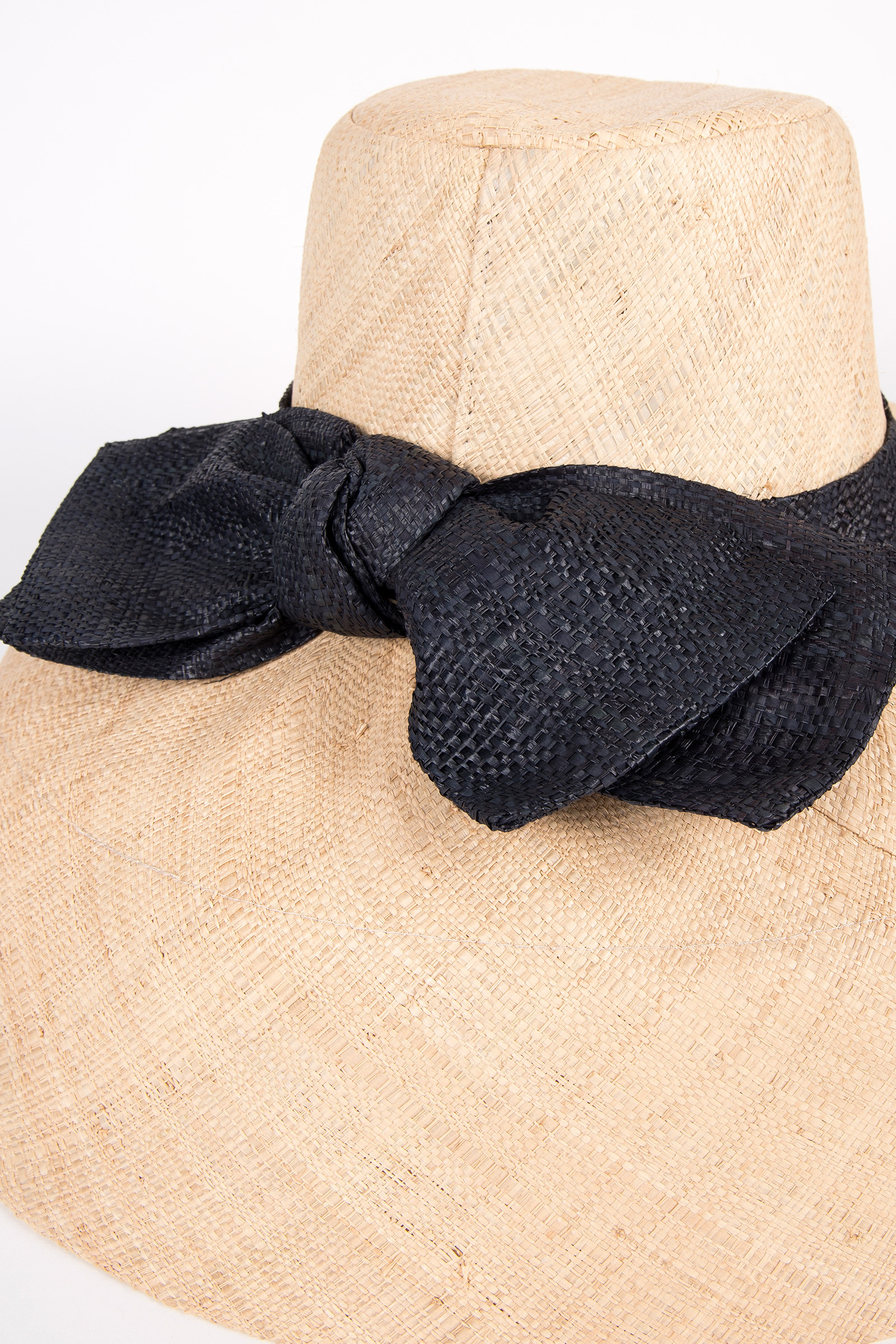 Raffia Hat with Black Bow detail