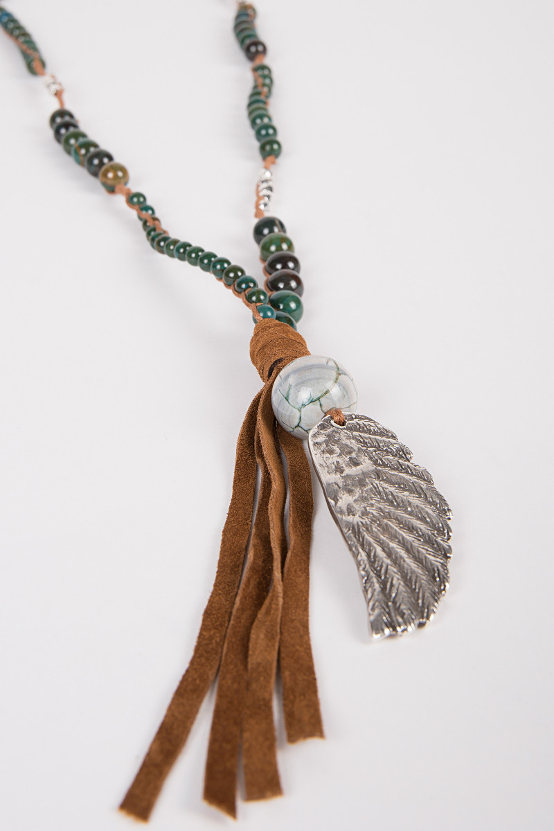 Green Balls Necklace with Wing cover
