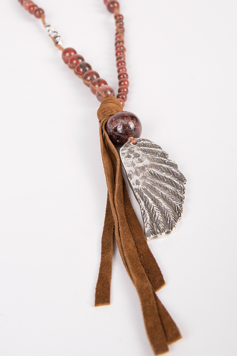 Burgundy Balls Necklace with Wing cover