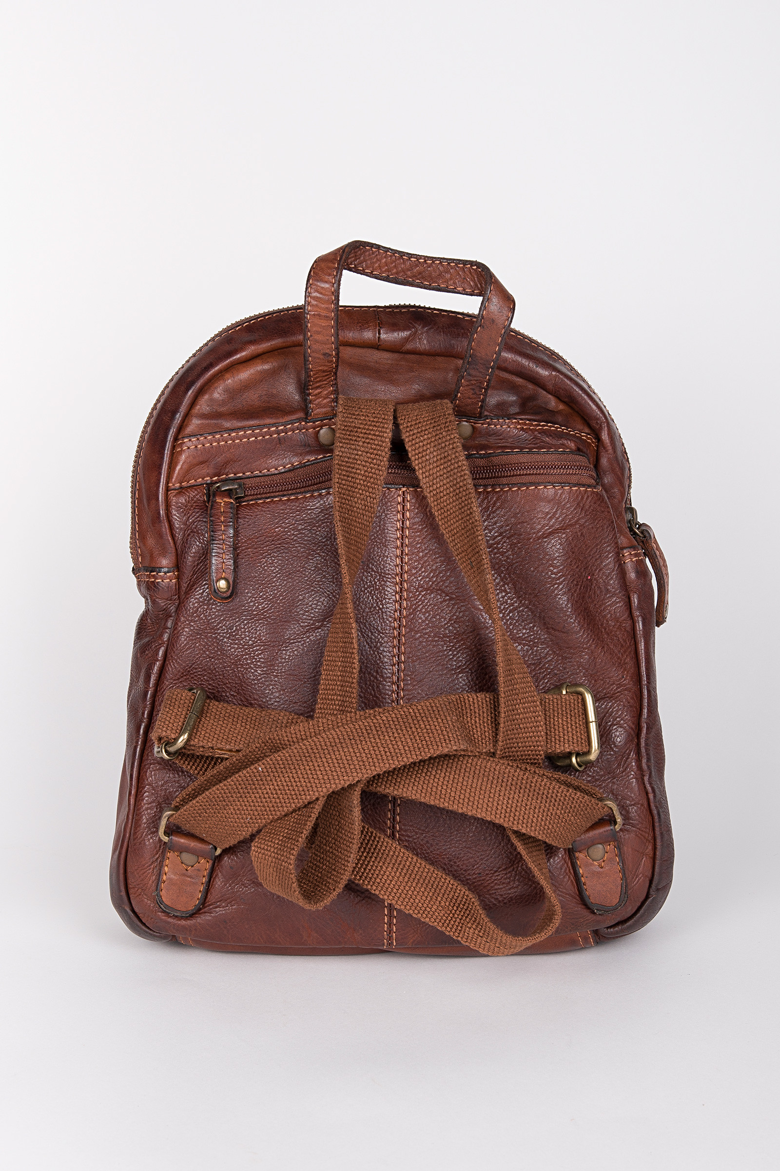 Oslo 006 Cognac Backpack back
