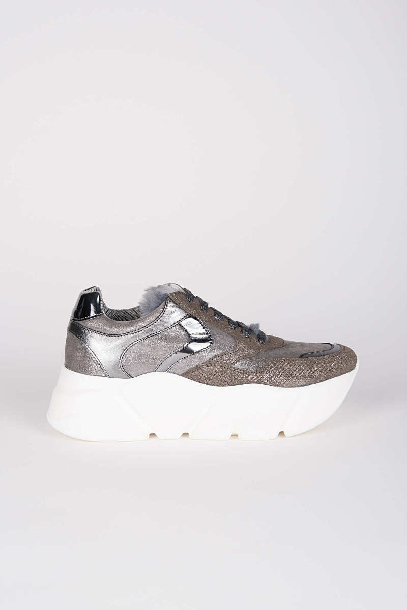 Monster Taupe-Metallic Sneakers Elisa & Eduardo Rivera Voile Blanche
