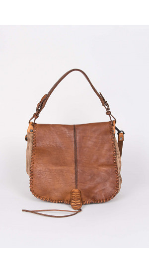 Lapel Shoulder Bag Camel .     Elisa & Eduardo Rivera
