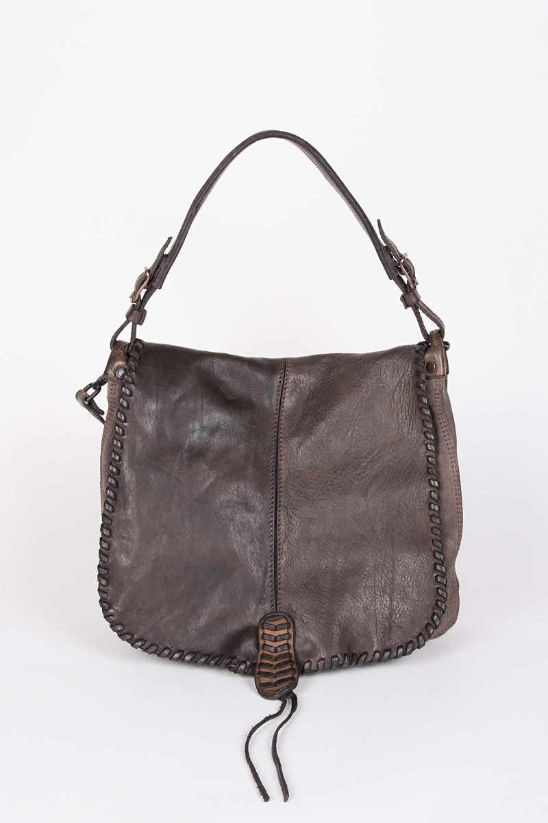 Lapel Shoulder Bag Chocolate .  Elisa & Eduardo Rivera