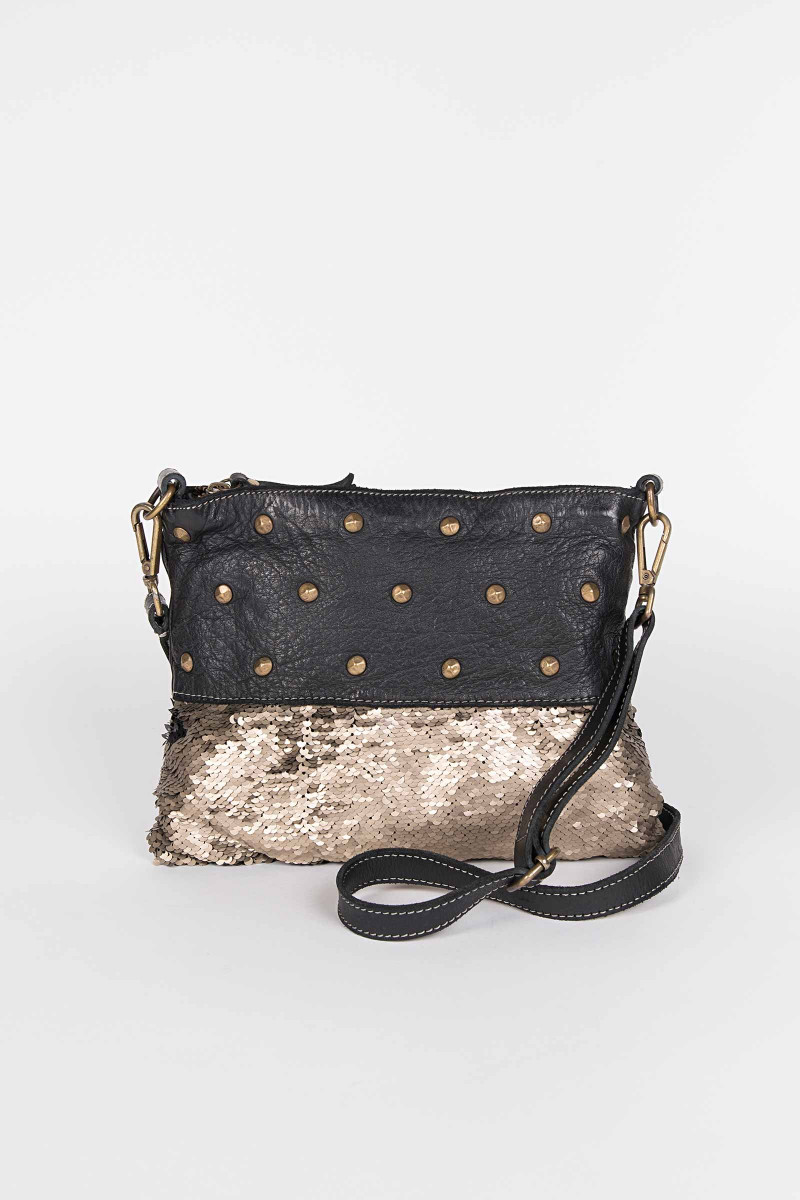 Black Tacks Shoulder Bag .  Elisa & Eduardo Rivera