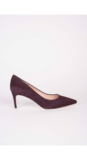 Burgundy Low Heel Pump Elisa & Eduardo Rivera