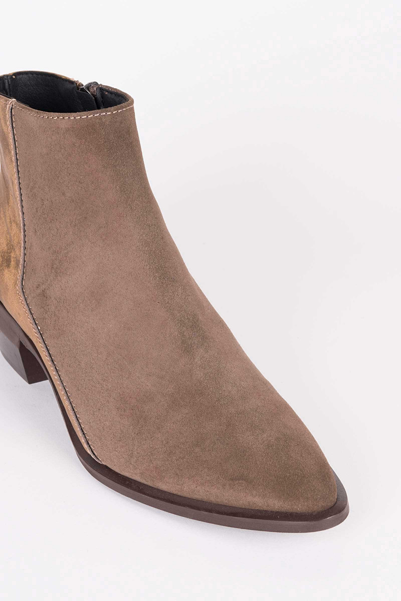 Brown-Gold Suede Ankle Boots