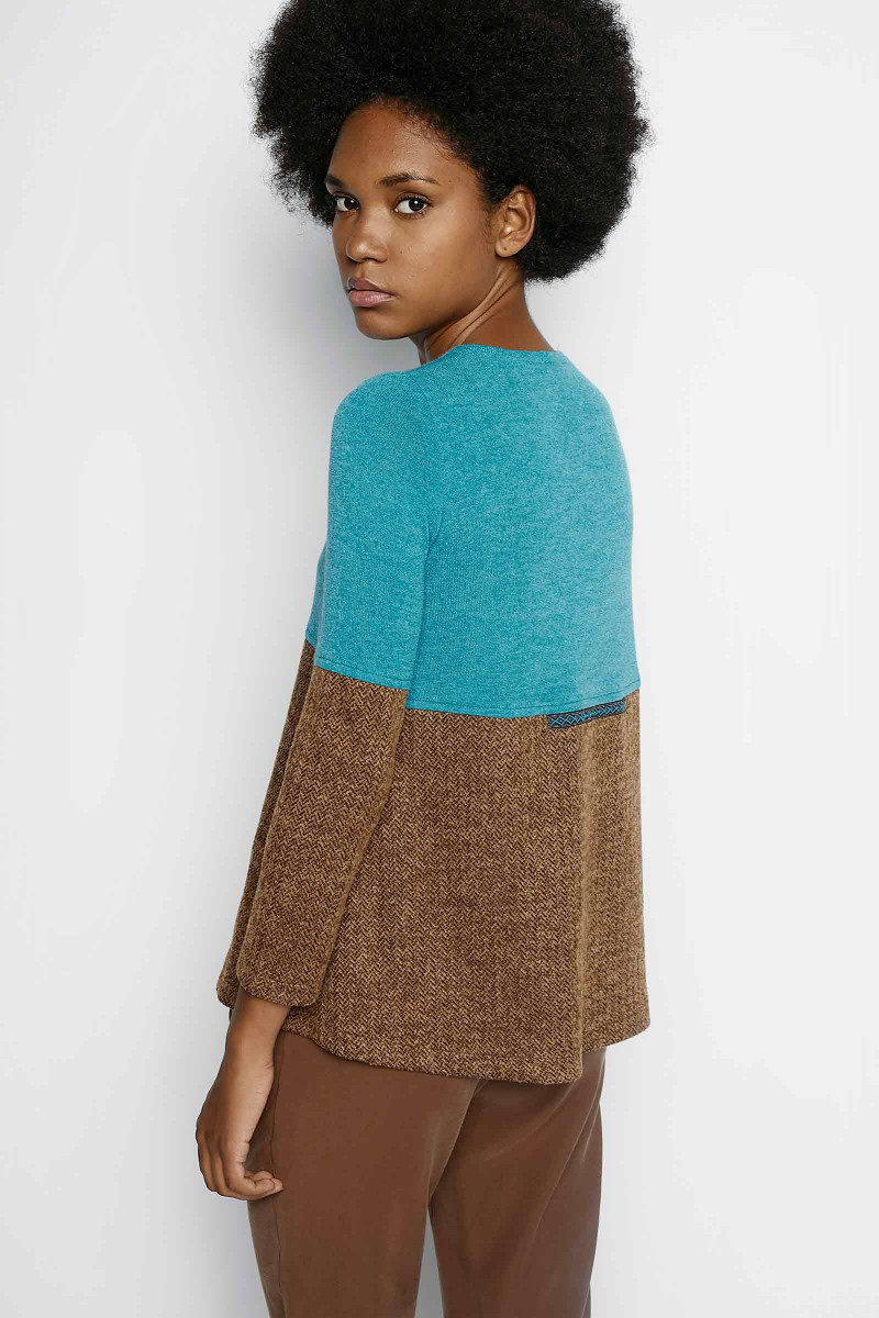 Emma Turquoise-Brown Sweater