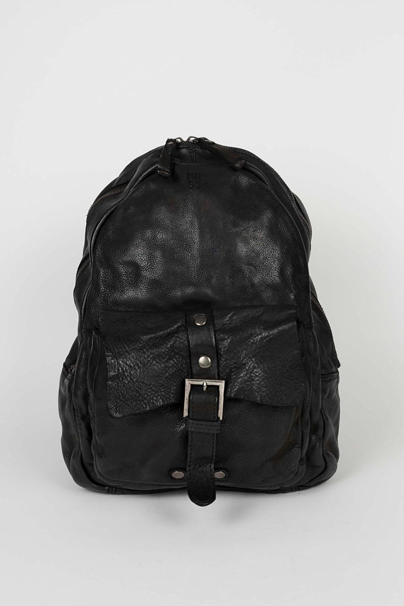 Black Leather Backpack Minoronzoni Eduardo & Elisa Rivera