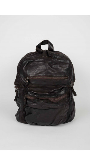 Brown Leather Backpack Zippers Eduardo & Elisa Rivera
